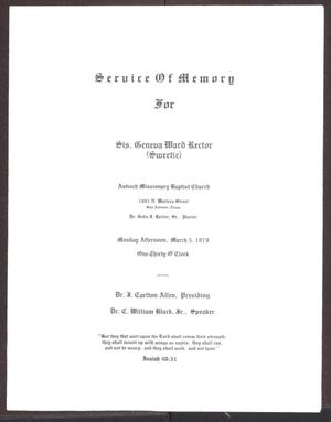 Primary view of object titled '[Funeral Program for Geneva Ward Rector, March 5, 1979]'.