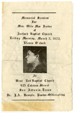 Primary view of object titled '[Funeral Program for Ollie Mae Rector, March 3, 1972]'.