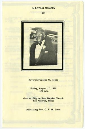 Primary view of object titled '[Funeral Program for George W. Reece, August 17, 1990]'.