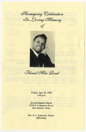 Primary view of object titled '[Funeral Program for Floral Mae Reed, June 26, 1998]'.