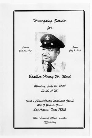 Primary view of object titled '[Funeral Program for Henry W. Reed, July 16, 2001]'.