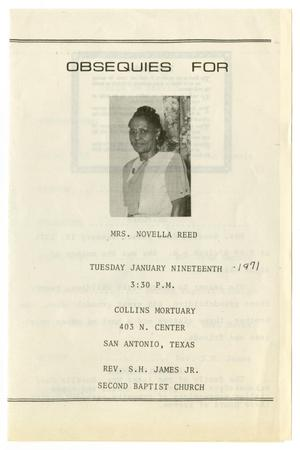 Primary view of object titled '[Funeral Program for Novella Reed, January 19, 1971]'.