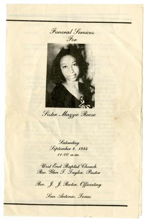 Primary view of object titled '[Funeral Program for Mazzie Reese, September 8, 1984]'.