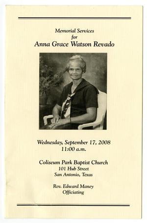 Primary view of object titled '[Funeral Program for Anna Grace Watson Revado, September 17, 2008]'.