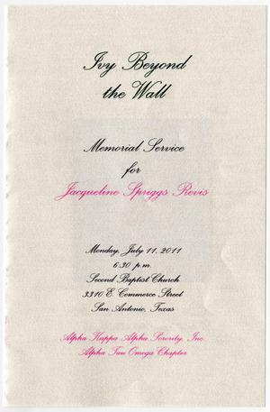 [Memorial Program for Jacqueline Spriggs Revis, July 11, 2011]