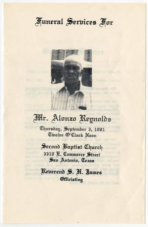 Primary view of object titled '[Funeral Program for Alonzo Reynolds, September 3, 1981]'.