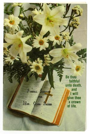 [Funeral Program for Clara Rhodes, January 25, 1983]