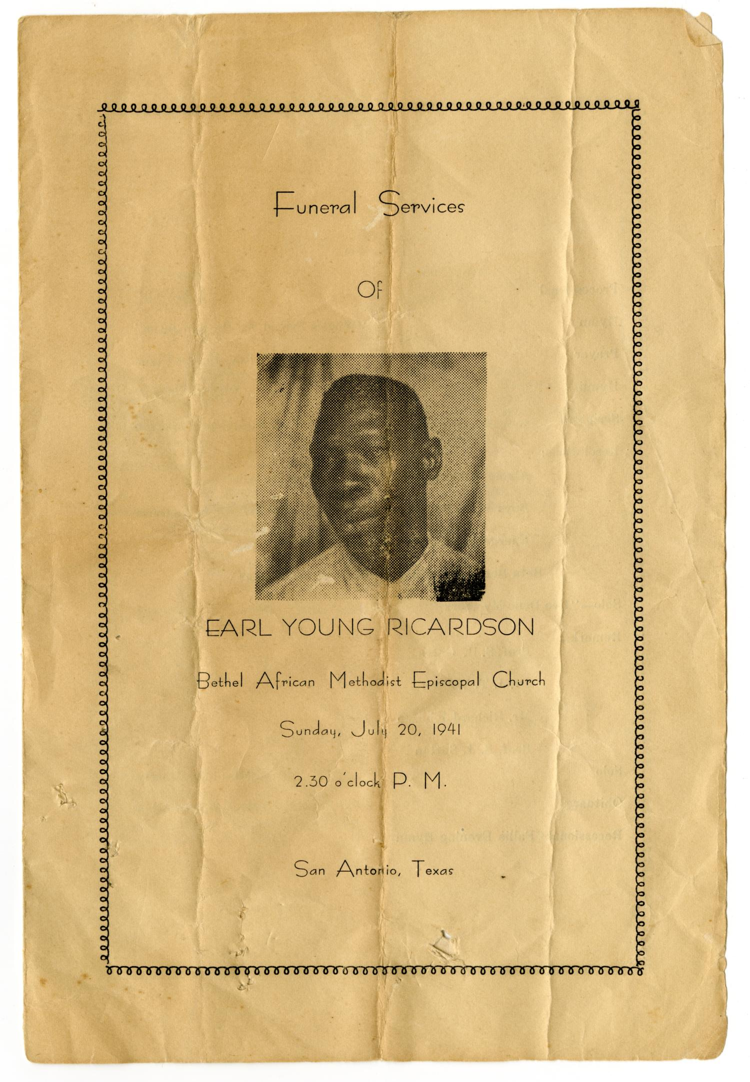 [Funeral Program for Earl Young Ricardson, July 20, 1941]                                                                                                      [Sequence #]: 1 of 3