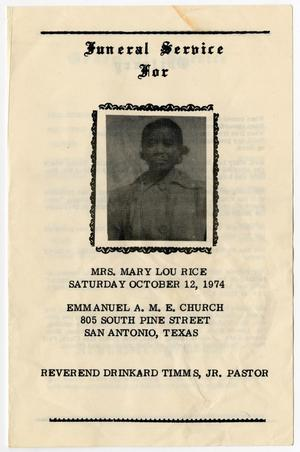 Primary view of object titled '[Funeral Program for Mary Lou Rice, October 12, 1974]'.