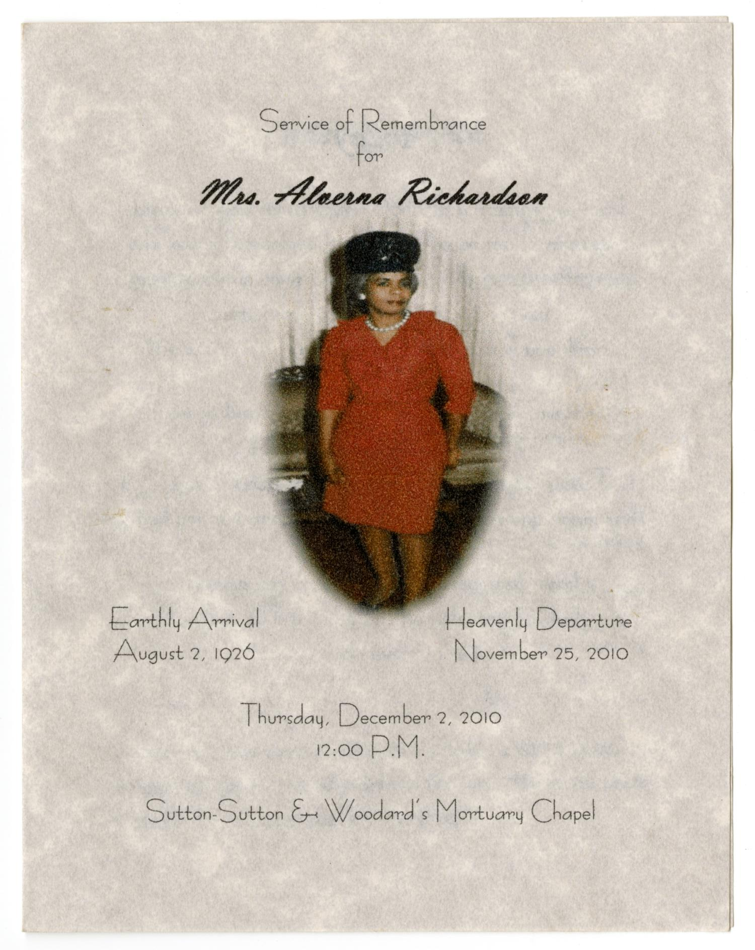 [Funeral Program for Alverna Richardson, December 2, 2010]                                                                                                      [Sequence #]: 1 of 3