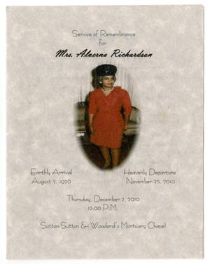 Primary view of object titled '[Funeral Program for Alverna Richardson, December 2, 2010]'.