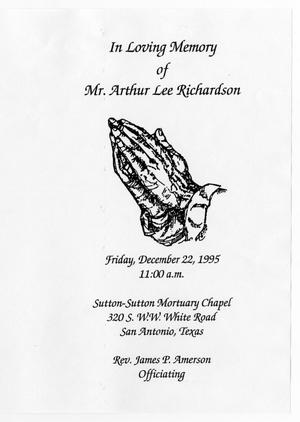 Primary view of object titled '[Funeral Program for Arthur Lee Richardson, December 22, 1995]'.