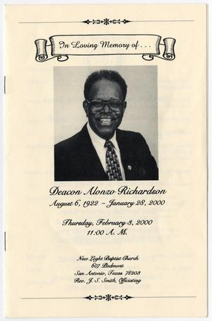 Primary view of object titled '[Funeral Program for Alonzo Richardson, February 3, 2000]'.