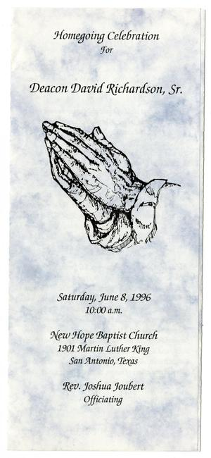 Primary view of object titled '[Funeral Program for David Richardson, Sr., June 8, 1996]'.