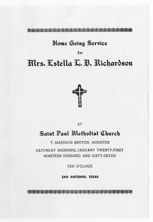 Primary view of object titled '[Funeral Program for Estella L. B. Richardson, January 21, 1967]'.