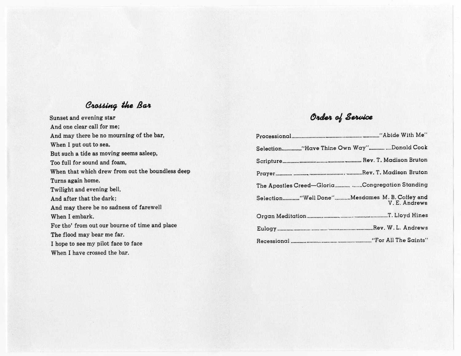 [Funeral Program for Estella L. B. Richardson, January 21, 1967]                                                                                                      [Sequence #]: 2 of 3