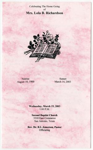 [Funeral Program for Lola B. Richardson, March 19, 2003]