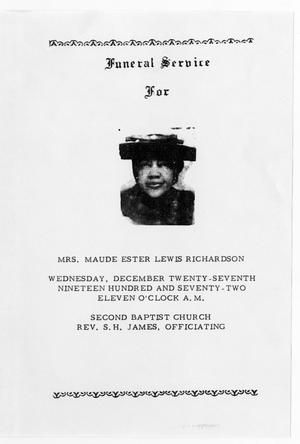 Primary view of object titled '[Funeral Program for Maude Ester Lewis Richardson, December 27, 1972]'.