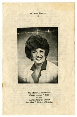 Primary view of object titled '[Funeral Program for Mamie L. Richardson, August 1, 1986]'.