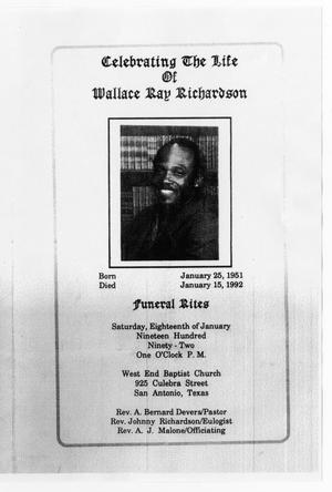 Primary view of object titled '[Funeral Program for Wallace Ray Richardson, January 18, 1992]'.