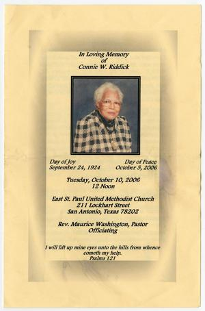 Primary view of object titled '[Funeral Program for Connie W. Riddick, October 10, 2006]'.