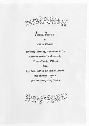 Primary view of object titled '[Funeral Program for Morris Ridgley, September 5, 1970]'.