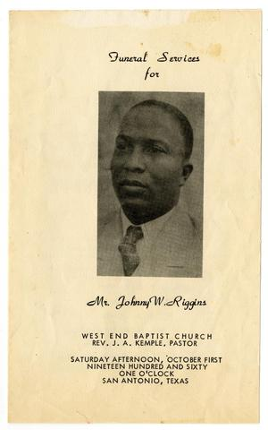 Primary view of object titled '[Funeral Program for Johnny W. Riggins, October 1, 1960]'.