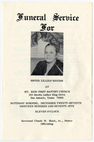Primary view of object titled '[Funeral Program for Lillian Riggins, December 27, 1975]'.