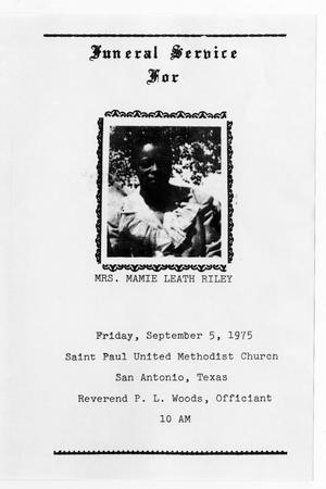 Primary view of object titled '[Funeral Program for Mamie Leath Riley, September 5, 1975]'.