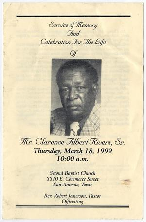 Primary view of object titled '[Funeral Program for Clarence Albert Rivers, Sr., March 18, 1999]'.