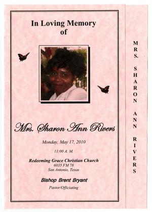 Primary view of object titled '[Funeral Program for Sharon Ann Rivers, May 17, 2010]'.