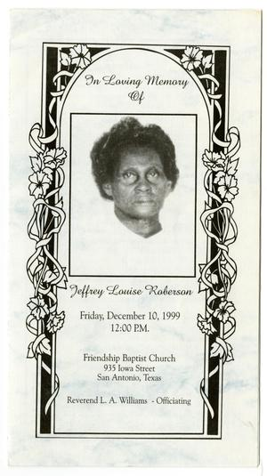 Primary view of object titled '[Funeral Program for Jeffrey Louise Roberson, December 10, 1999]'.