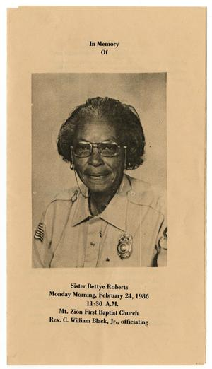 Primary view of object titled '[Funeral Program for Bettye Roberts, February 24, 1986]'.