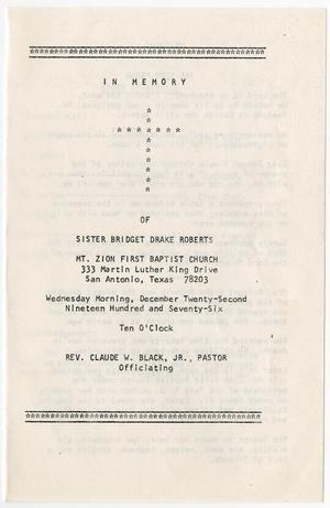 Primary view of object titled '[Funeral Program for Bridget Drake Roberts, December 22, 1976]'.