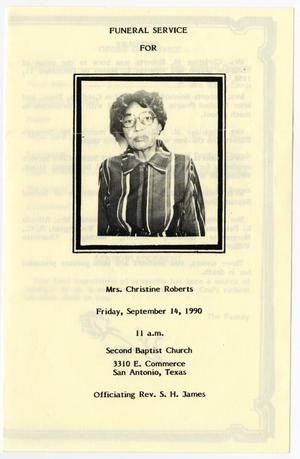 [Funeral Program for Christine Roberts, September 14, 1990]
