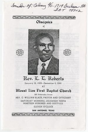 Primary view of object titled '[Funeral Program for E. L. Roberts, December 10, 1966]'.