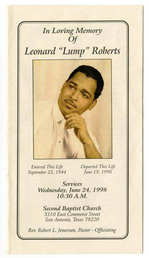 Primary view of object titled '[Funeral Program for Leonard Roberts, June 24, 1998]'.