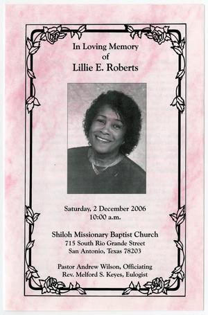 Primary view of object titled '[Funeral Program for Lillie E. Roberts, December 2, 2006]'.