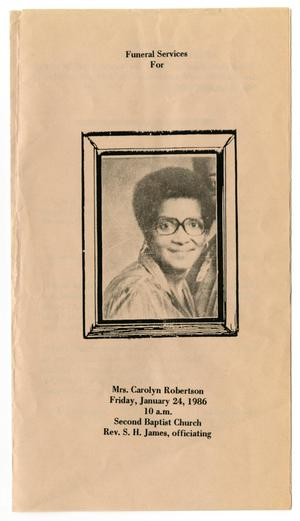 Primary view of object titled '[Funeral Program for Carolyn Robertson, January 24, 1986]'.