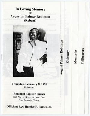 Primary view of object titled '[Funeral Program for Augustus Palmer Robinson, February 8, 1996]'.