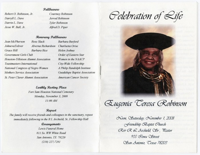 organization funeral program