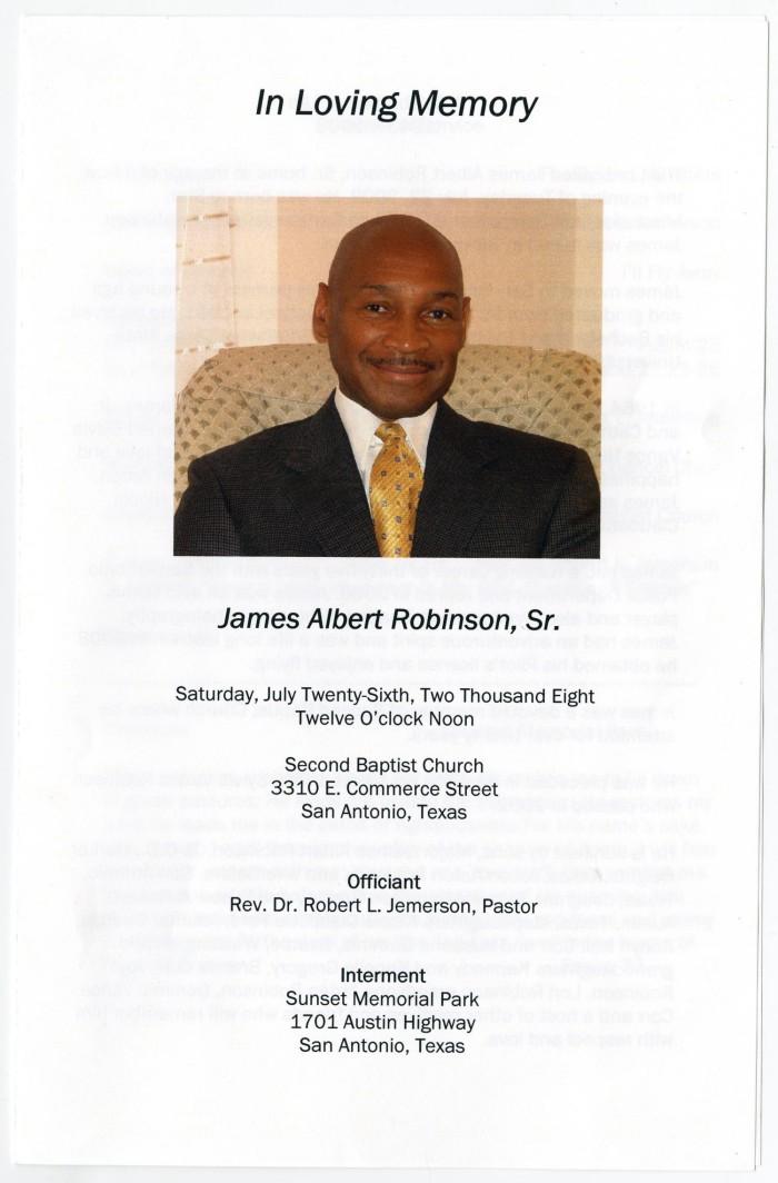 funeral program for james albert robinson sr july 26 2008 the