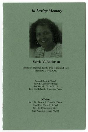 Primary view of object titled '[Funeral Program for Sylvia V. Robinson, October 10, 2002]'.