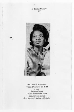 Primary view of object titled '[Funeral Program for Josie L. Rochester, December 26, 1986]'.