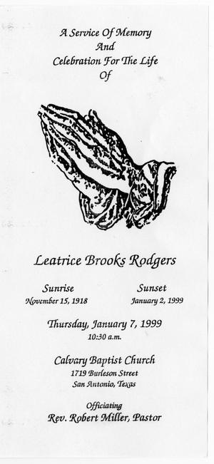 Primary view of object titled '[Funeral Program for Leatrice Brooks Rodgers, January 7, 1999]'.