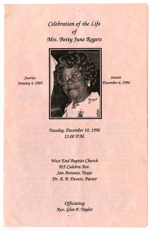 Primary view of object titled '[Funeral Program for Betty June Rogers, December 10, 1996]'.