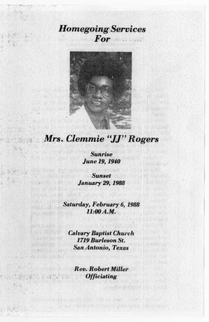 [Funeral Program for Clemmie Rogers, February 6, 1988]