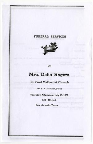 Primary view of object titled '[Funeral Program for Delia Rogers, July 13, 1950]'.