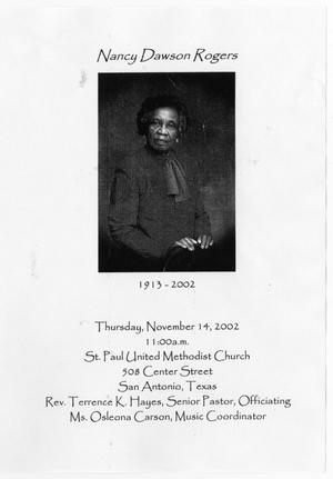 Primary view of object titled '[Funeral Program for Nancy Dawson Rogers, November 14, 2002]'.