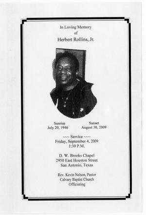 [Funeral Program for Herbert Rollins, Jr., September 4, 2009]
